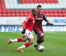 LONDON, ENGLAND - Saturday, March 5, 2011: Tranmere Rovers' Robbie Weir and Charlton Athletic's Therry Racon in action during the Football League One match at The Valley. (Photo by Gareth Davies/Propaganda)