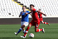 Fifa Womans World Cup Canada 2015 - Preview //<br /> Cyprus Cup 2015 Tournament ( Gsp Stadium Nicosia - Cyprus ) - <br /> Italy vs Canada 0-1   //  Christine Sinclair of Canada (R) , challenges with Valentina Cernucci of Italy (L)