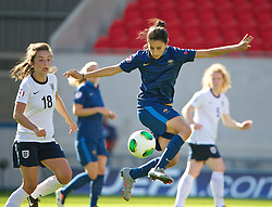 LLANELLI, WALES - Saturday, August 31, 2013: France's Ghoutia Karchouni in action against England during the Final of the UEFA Women's Under-19 Championship Wales 2013 tournament at Parc y Scarlets. (Pic by David Rawcliffe/Propaganda)