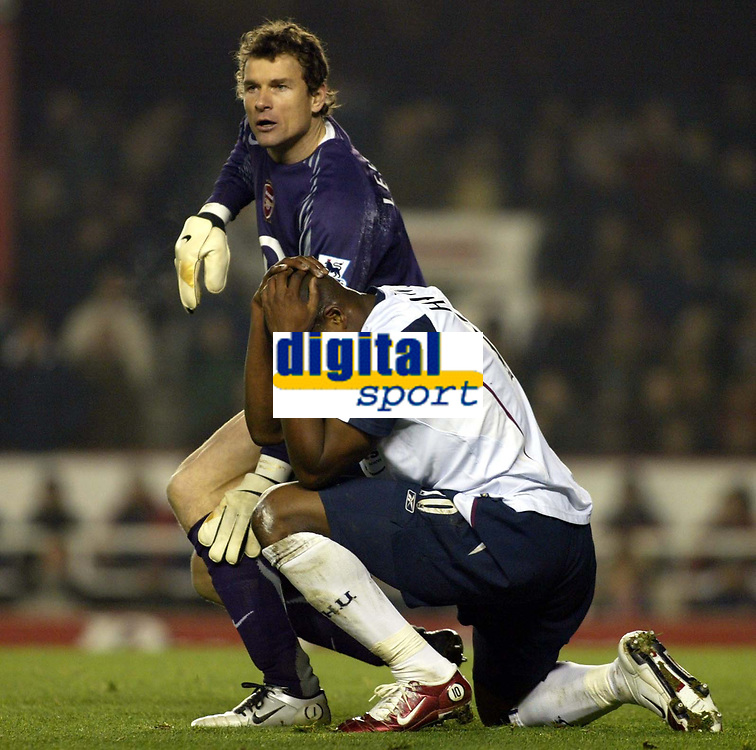 Photo: Chris Ratcliffe.<br />Arsenal v West Ham. Barclays Premiership. 01/02/2006.<br />Marlon Harewood and Jens Lehmann have an altercation.