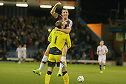 Burnley defender Michael Duff celebrates Burnley midfielder George Boyd goal with Burnley goalkeeper Thomas Heaton during the Sky Bet Championship match between Burnley and Milton Keynes Dons at Turf Moor, Burnley, England on 15 September 2015. Photo by Simon Davies.