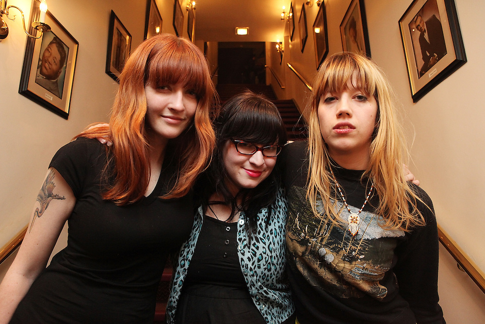 NEW YORK - FEBRUARY 19:  Kickball Katy, Ali Koehler and Cassie Ramone of The Vivian Girls pose backstage at the Apollo Theatre on February 19, 2009 in New York City.  (Photo by Roger Kisby/Getty Images)