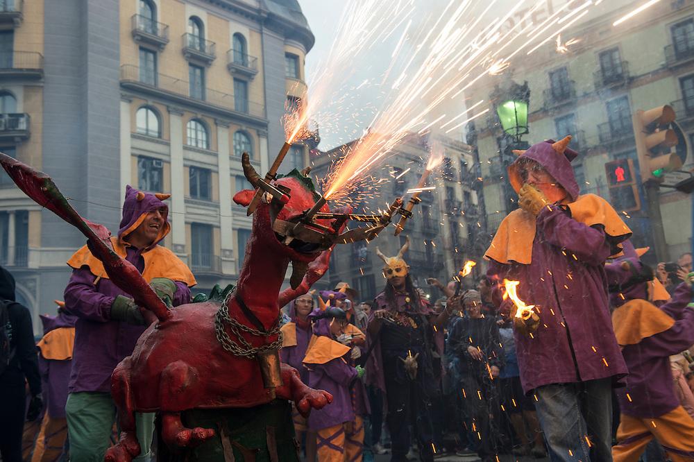 Correfoq (Fire Run, finale of the Festival of La Mercè, Barrio Gotico of Barcelona