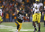 October 10, 2009: Iowa cornerback Brett Greenwood (30) celebrates his interception to seal Iowa's win during the second half of the Iowa Hawkeyes' 30-28 win over the Michigan Wolverine's at Kinnick Stadium in Iowa City, Iowa on October 10, 2009.