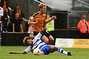 Wolverhampton Wanderers midfielder George Saville (8) fouls Reading midfielder Daniel Williams (23) during the EFL Sky Bet Championship match between Wolverhampton Wanderers and Reading at Molineux, Wolverhampton, England on 13 August 2016. Photo by Alan Franklin.