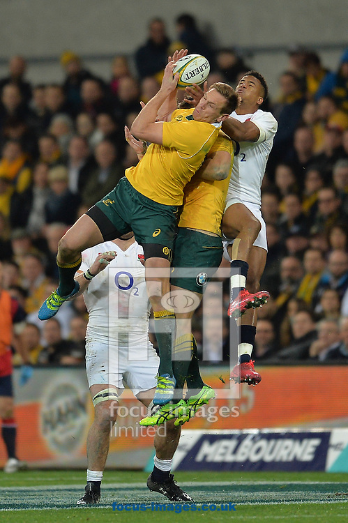 Anthony Watson of England jumps to catch the ball during the International Test Match match at AAMI Stadium, Melbourne<br /> Picture by Frank Khamees/Focus Images Ltd +61 431 119 134<br /> 18/06/2016