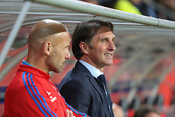22.09.2015, Audi Sportpark, Ingolstadt, GER, 1. FBL, FC Ingolstadt 04 vs Hamburger SV, 6. Runde, im Bild Cheftrainer Bruno Labbadia (HSV) im Gespraech mit seinem Cotrainer // during the German Bundesliga 6th round match between FC Ingolstadt 04 and Hamburger SV at the Audi Sportpark in Ingolstadt, Germany on 2015/09/22. EXPA Pictures © 2015, PhotoCredit: EXPA/ Eibner-Pressefoto/ Strisch<br /> <br /> *****ATTENTION - OUT of GER*****
