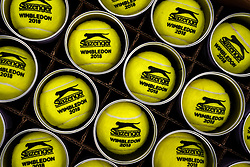 Detail of Slazenger Tennis balls in tins on day six of the Wimbledon Championships at the All England Lawn Tennis and Croquet Club, Wimbledon.