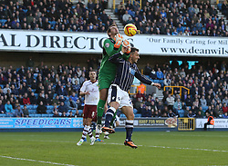 Millwall's Scott McDonald challenges Burnley's Thomas Heaton for the ball - Photo mandatory by-line: Robin White/JMP - Tel: Mobile: 07966 386802 02/11/2013 - SPORT - FOOTBALL - The Den - Millwall - Millwall v Burnley - Sky Bet Championship