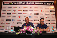 Otago Volts coach Vaughn Johnson and Otago Volts captain Brendon McCullum during the Otago Volts team arrival press conference prior to the start of the Karbonn Smart CLT20 2013 held at the JW Marriott Hotel in Mohali on the 15th September 2013<br /> <br /> Photo by Shaun Roy-CLT20-SPORTZPICS <br /> <br /> Use of this image is subject to the terms and conditions as outlined by the BCCI. These terms can be found by following this link:<br /> <br /> http://www.sportzpics.co.za/image/I0000SoRagM2cIEc