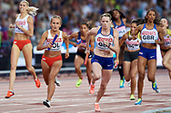 Great Britain, London - 2017 August 13: (L) Iga Baumgart (BKS Bydgoszcz) of Poland and (R) Aleksandra Gaworska of Poland compete in women's 4x400 meters relay final during IAAF World Championships London 2017 Day 10 at London Stadium on August 13, 2017 in London, Great Britain.<br /> <br /> Mandatory credit:<br /> Photo by © Adam Nurkiewicz<br /> <br /> Adam Nurkiewicz declares that he has no rights to the image of people at the photographs of his authorship.<br /> <br /> Picture also available in RAW (NEF) or TIFF format on special request.<br /> <br /> Any editorial, commercial or promotional use requires written permission from the author of image.