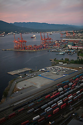 Port of Vancouver at dusk, with railroad and shipping terminals, Vancouver, British Columbia, Canada