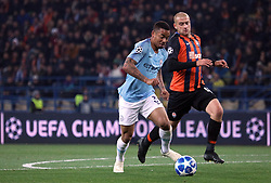 October 23, 2018 - Kharkiv, Ukraine - Forward Gabriel Jesus (L) of Manchester City FC and defender Yaroslav Rakytskyi of FC Shakhtar Donetsk are seen in action during the UEFA Champions League Group F Matchday 3 game at the Metalist Stadium Regional Sports Complex, Kharkiv, northeastern Ukraine, October 23, 2018. Ukrinform. (Credit Image: © Danil Shamkin/Ukrinform via ZUMA Wire)