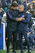 Brighton and Hove Albion manager Chris Hughton greets Tottenham Hotspur Manager Mauricio Pochettino during the Premier League match between Brighton and Hove Albion and Tottenham Hotspur at the American Express Community Stadium, Brighton and Hove, England on 22 September 2018.