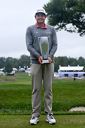 September 10, 2018 - Newtown Square, Pennsylvania, United States - Keegan Bradley holds the trophy after a one-hole playoff against Justin Rose on the 18th hole to win the 2018 BMW Championship. (Credit Image: © Debby Wong/ZUMA Wire)