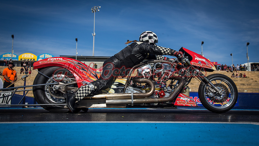 Mark Drew (2987) launching his Harley-Davidson Top Bike at the Perth Motorplex.