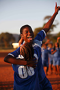 Mabila Gundo celebrates her goal with player number 8 Mabayi Murunwa. Makhnda U17 girls football club. Khubvi Village. Nr Thohoyandou. Venda. Limpopo Province. South Africa. .Action Aid..Pictures by Zute & Demelza Lightfoot. www.lightfootphoto.com zutelightfoot@yahoo.co.uk +27(0)715957308..