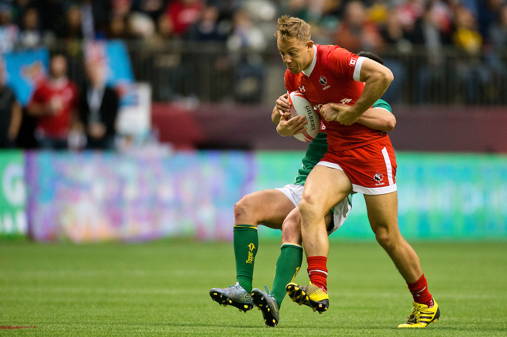 Canada plays Brazil in the Bowl quarter final at the HSBC Sevens World Series XVII Round 6 at B.C. Place Stadium in Vancouver British Columbia on March 13, 2016. Canada won the match 19-0.  (KevinLight/CBCSports)