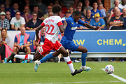 AFC Wimbledon attacker Michael Folivi (17) dribbling into box during the EFL Sky Bet League 1 match between AFC Wimbledon and Rotherham United at the Cherry Red Records Stadium, Kingston, England on 3 August 2019.