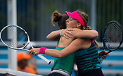 Maria Sakkari of Greece and Anett Kontaveit of Estonia embrace after their second-round match at the 2018 Western and Southern Open WTA Premier 5 tennis tournament, Cincinnati, Ohio, USA, on August 15th 2018 - Photo Rob Prange / SpainProSportsImages / DPPI / ProSportsImages / DPPI