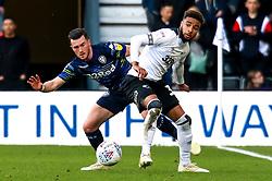 Jack Harrison of Leeds United puts pressure on Jayden Bogle of Derby County - Mandatory by-line: Ryan Crockett/JMP - 11/05/2019 - FOOTBALL - Pride Park Stadium - Derby, England - Derby County v Leeds United - Sky Bet Championship Play-off Semi Final 1st Leg