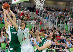 Edo Muric of Krka vs Rok Cindric of Union Olimpija during basketball match between KK Union Olimpija and KK Krka in 4th Final match of Telemach Slovenian Champion League 2011/12, on May 24, 2012 in Arena Stozice, Ljubljana, Slovenia.  (Photo by Vid Ponikvar / Sportida.com)