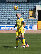 21st April 2018, Dens Park, Dundee, Scotland; Scottish Premier League football, Dundee versus St Johnstone; Richard Foster of St Johnstone heads clear from Sofien Moussa of Dundee