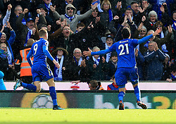 Vicente Iborra of Leicester City celebrates after scoring the opening goal for his side (0-1) - Mandatory by-line: Paul Roberts/JMP - 04/11/2017 - FOOTBALL - Bet365 Stadium - Stoke-on-Trent, England - Stoke City v Leicester City - Premier League