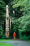 Alaska. Sitka Nat'l Historical Park. Frog / Raven Pole, near Visitor Center, replica. RA