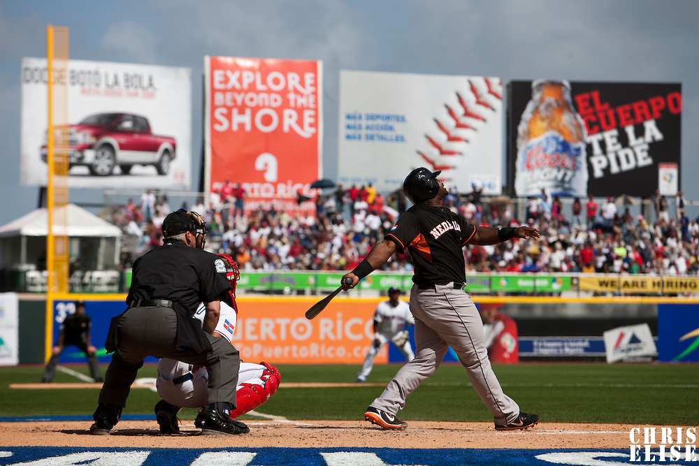 7 March 2009: #35 Randall Simon of the Netherlands watchs an outfield fly ball during the 2009 World Baseball Classic Pool D match at Hiram Bithorn Stadium in San Juan, Puerto Rico. Netherlands pulled off a huge upset in their World Baseball Classic opener with a 3-2 victory over Dominican Republic.