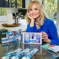Actress Kristen Bell partnered with Crest + Oral-B to launch new oral care products featuring Disney's Frozen in Los Angeles, Calif., on Wednesday, March 4, 2015.  (Eric Reed/AP Images for Crest + Oral-B)