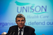 Dave Prentis, Unison General Secretary speaking at the Unions Health Care Conference..© Martin Jenkinson, tel 0114 258 6808 mobile 07831 189363 email martin@pressphotos.co.uk. Copyright Designs & Patents Act 1988, moral rights asserted credit required. No part of this photo to be stored, reproduced, manipulated or transmitted to third parties by any means without prior written permission.