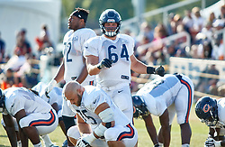 July 28, 2018 - Bourbonnais, IL, U.S. - BOURBONNAIS, IL - JULY 28: Chicago Bears center Eric Kush (64) participates in drills during the Chicago Bears training camp on July 28, 2018 at Olivet Nazarene University in Bourbonnais, Illinois. (Photo by Robin Alam/Icon Sportswire) (Credit Image: © Robin Alam/Icon SMI via ZUMA Press)