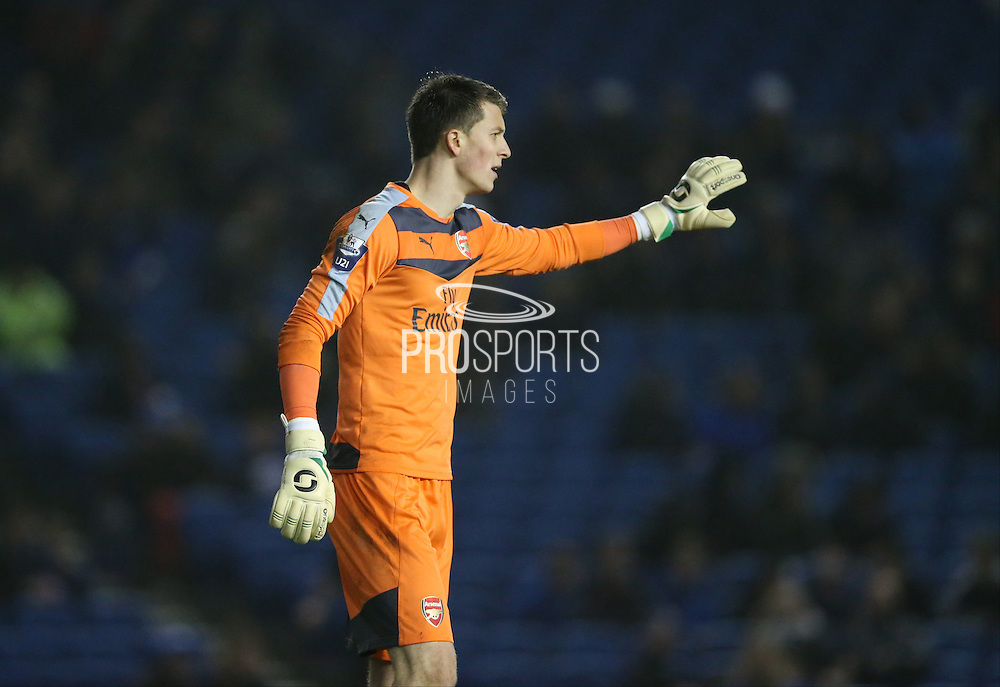 Arsenal U21 goalkeeper Matt Macey during the Barclays U21 Premier League match between Brighton U21 and Arsenal U21 at the American Express Community Stadium, Brighton and Hove, England on 1 December 2015.