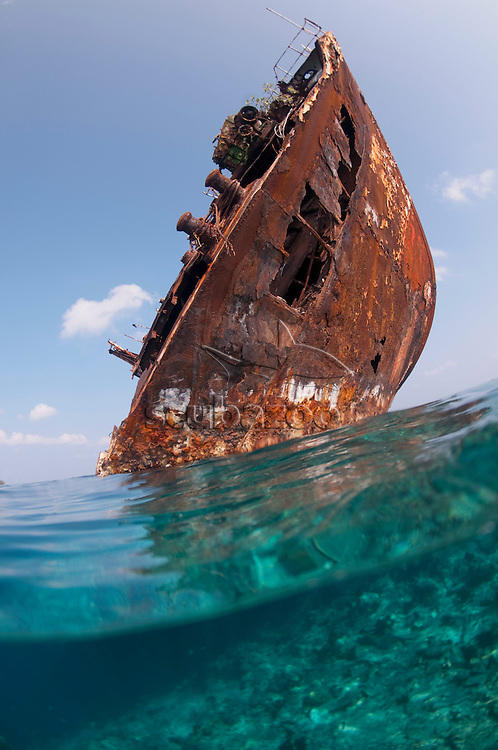 Skipjack II wreck, Underwater and breached bow, Shipyard, Lhaviyani, Maldives