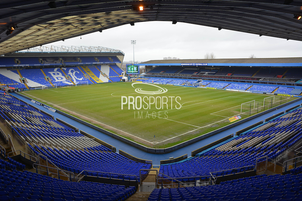 St Andrews pitch during the Sky Bet Championship match between Birmingham City and Ipswich Town at St Andrews, Birmingham, England on 23 January 2016. Photo by Alan Franklin.