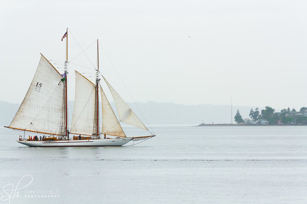 The Schooner Adventuress with Browns Point Lighthouse in the distance, WA