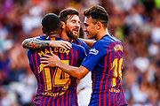 Leo Messi from Argentina celebrating his goal during the Joan Gamper trophy game between FC Barcelona and CA Boca Juniors in Camp Nou Stadium at Barcelona, on 15 of August of 2018, Spain, Photo Xavier Bonilla / SpainProSportsImages / DPPI / ProSportsImages / DPPI