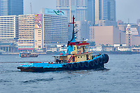 Tugboat in the harbour with strong air pollution, Hong Kong, Hong Kong, August 2008   Photo: Peter Llewellyn