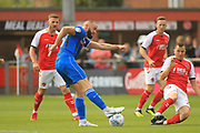 Aaron Wilbraham shoots during the EFL Sky Bet League 1 match between Fleetwood Town and Rochdale at the Highbury Stadium, Fleetwood, England on 18 August 2018.