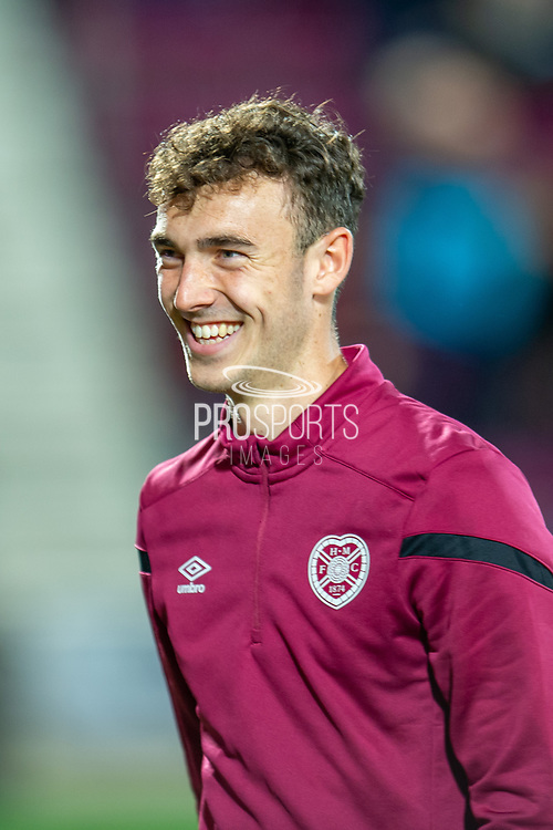 Andrew Irving (#40) of Heart of Midlothian FC is all smiles before the Betfred Scottish Football League Cup quarter final match between Heart of Midlothian FC and Aberdeen FC at Tynecastle Stadium, Edinburgh, Scotland on 25 September 2019.
