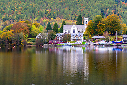 View of village of Kenmore during autumn on Loch Tay in Perthshire , Scotland, United Kingdom.