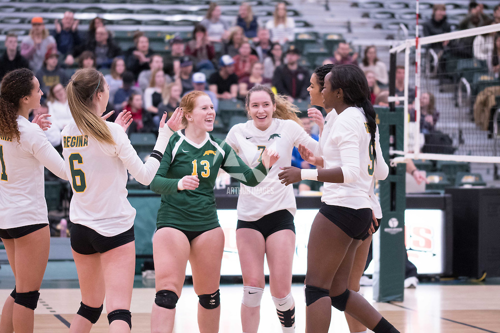 3rd year libero Taylor Ungar (13) of the Regina Cougars during the home game on January 6 at Centre for Kinesiology, Health and Sport. Credit: Arthur Ward/Arthur Images