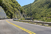 Road snaking through the Manawatu Gorge near Palmerston North, North Island, New Zealand