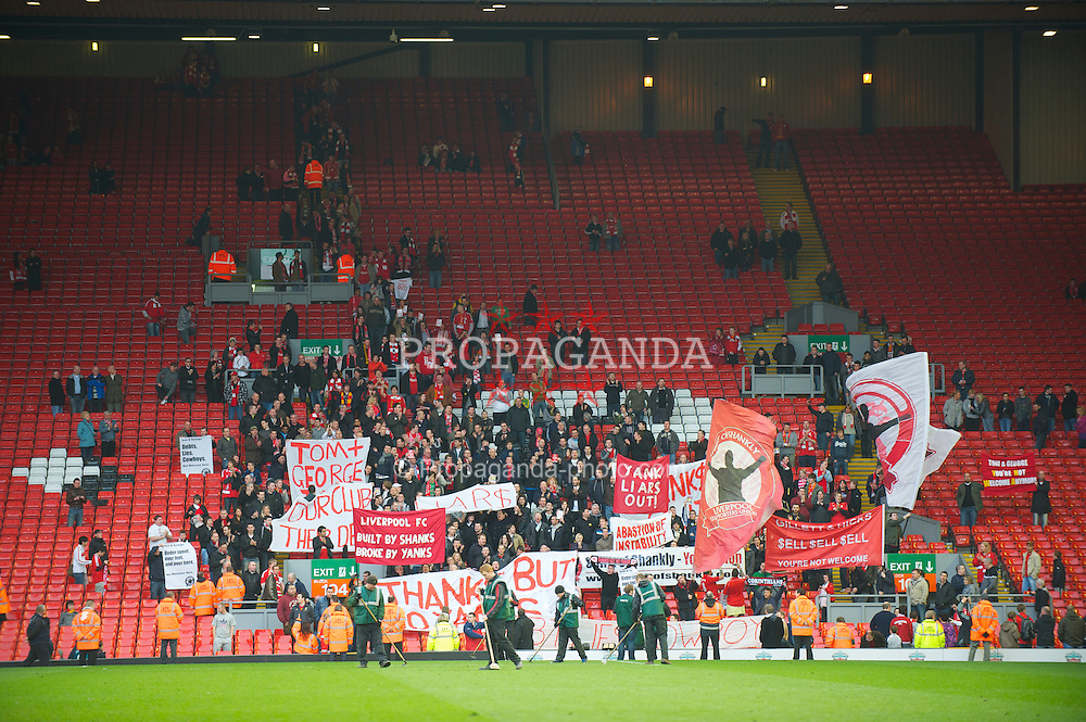 LIVERPOOL, ENGLAND - Sunday, March 28, 2010: Liverpool supporters stay behind after the 3-0 victory over Sunderland to demonstrate against the club's American owners after the Premiership match at Anfield. (Photo by: David Rawcliffe/Propaganda)