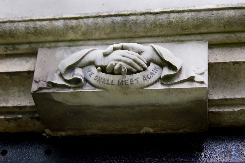 """Highgate Cemetery London: carving that says """"we shall meet again"""""""