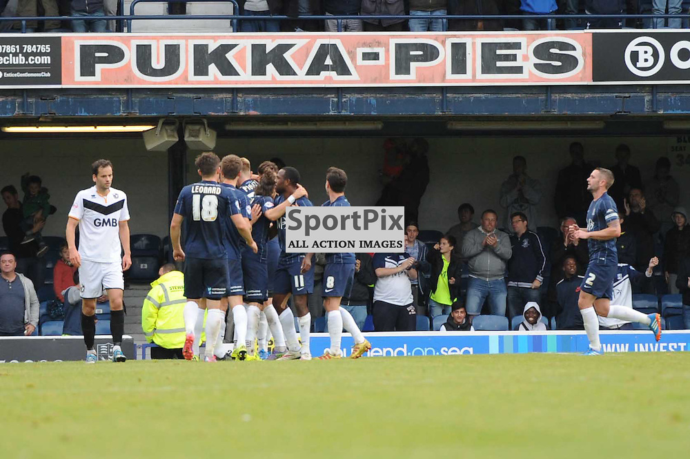 The Southend players celebrate Joe Pigotts goal during the Southend v Port Vale game in Sky Bet League 1 on the 10th October 2015