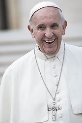 October 19, 2016 - Vatican City, Vatican - Pope Francis smiles as he leaves at the end of his Weekly General Audience in St. Peter's Square in Vatican City, Vatican. Pope Francis on Wednesday said access to food and water is a basic human right, and called on believers and people of good will everywhaere to take personal responsibility for the needs of their neighbors. (Credit Image: © Giuseppe Ciccia/Pacific Press via ZUMA Wire)