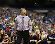 Weimar Lady Cats head coach Roger Maupin coaches from the sideline during the second half of the UIL Class 2A girls basketball state championship game between Panhandle and Weimar High School at the Alamodome in San Antonio on Saturday, March 5, 2016.