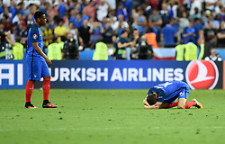 Anthony Martial of France and Andre-Pierre Gignac of France are left devastated on the final whistle  - Mandatory by-line: Joe Meredith/JMP - 10/07/2016 - FOOTBALL - Stade de France - Saint-Denis, France - Portugal v France - UEFA European Championship Final
